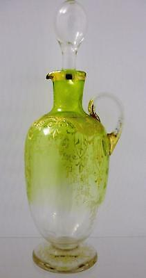 Bohemian Decorated Handled Decanter Possibly Moser
