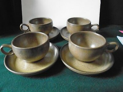 Four Denby Romany cups and saucers