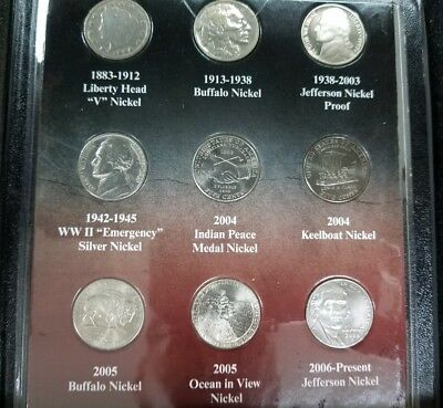 100 Year of American Nickels Set-First Commemorative Mint-Complete Type Set-J554