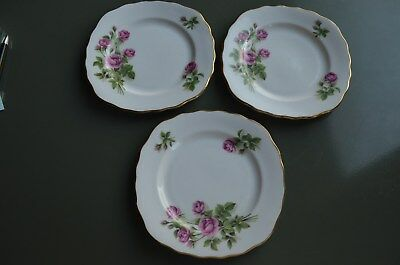 3 Royal Vale Square Bread & Butter Plate RVA 53 Pink Roses, Scalloped, Gold Trim