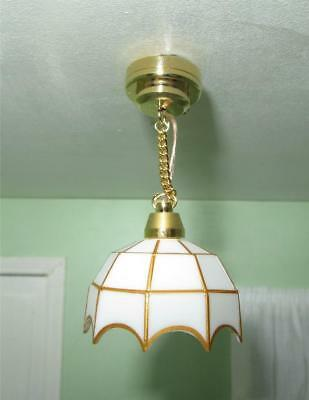 Miniature Dollhouse 1:12 Scale - White Tiffany-Style Hanging Lamp - C3(S)