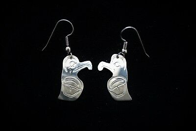 Harvey Williams Original Hand Engraved Silver Earrings Eagle First Nations 1990s