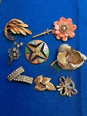 Lot of 10 Vintage Brooches Rhinestone Floral 1 Crown Trifari Estate Jewelry Pins