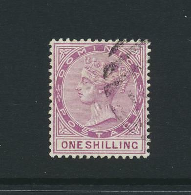 DOMINICA 1890, 1sh WMK CA P14 (SIGNED), VF USED SG#26 CAT£400 $525 (SEE BELOW)