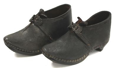 Pair of Antique Leather & Wood Children's/Doll's CLOGS/ Shoes  - C98