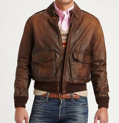 1fa0cae3f2 Polo Ralph Lauren Mens Brown Vintage Slim Leather Farrington Bomber Jacket  NWT