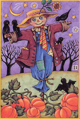 Scarecrow Pumpkins Crows-Handcrafted Halloween Magnet-w/Mary Engelbreit art