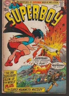 Superboy #167 - The Day Superbaby Blew Up The World!! - Key!! - 1970 - Very Good