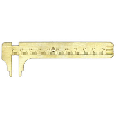 Mini 100mm Metal Scale Brass Gauge Vernier Caliper Ruler Pocket Measuring Tool