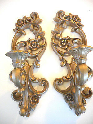 Vintage Homco Gold Wall Sconces Set of 2 Syroco Sconces # 4118 Very Nice