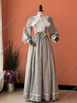 Victorian Gold Rush Striped Vintage Dress Ghost Bride Adult Costume N 191 XXL