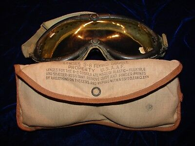 US Army Air Corps/USAAF B-8 Flying Goggles with lens case and lenses-Very Good