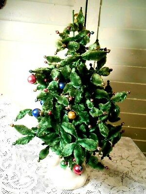 Vintage Bumpy Chenille Christmas Tree with Tiny Ornaments/Feather Tree Type