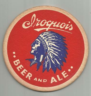 "1940's Iroquois Beer & Ale Coaster Buffalo, NY 4"" Indian Head #002 Beer & Ale"