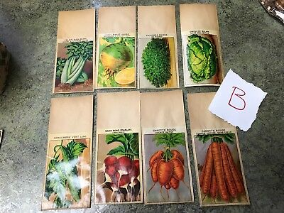 Lot B Antique French France Vegetable Seed Sack Packets Vintage Old Store Stock