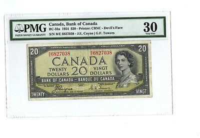 1954 $20 CANADA PMG 30 DEVIL'S FACE BC-33a BANKNOTE SN B/E 6827038 ANNOTATION