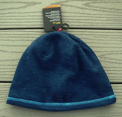 67f5b5d1d56 ... new zealand nwt under armour coldgear reactor elements storm mens  beanie hat osfm 30 blue f669b