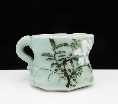 Vintage Chinese Celadon Green Porcelain Handpainted Flower Small Pitcher