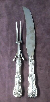 Antique Ornate Carving Set Geo H Cowen Sheffield England Silverplate C1880s