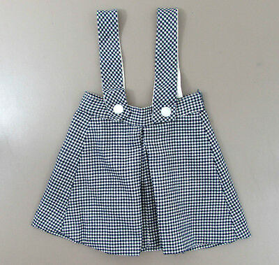 Vintage Little Girls Wool skirt with straps  - black & white herringbone
