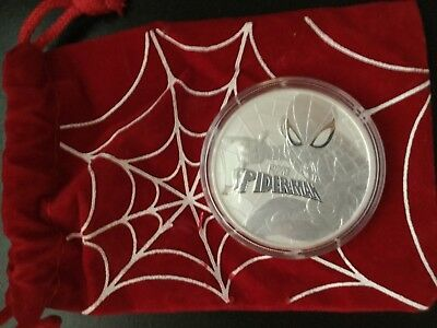 2017 Tuvalu 1 oz .9999  Fine Silver Spiderman coin from the Perth Mint w/ pouch