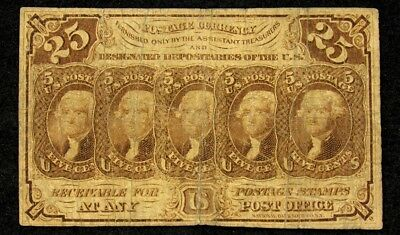 1st Issue 25 Cent US Fractional (Postage Currency) - FR#1281 - VG - Very Good