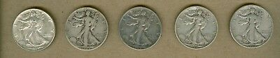 Five Different U.S. Walking Liberty Half Dollar Silver Coins B