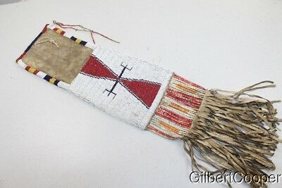 1850's BEADED AND QUILLED SIOUX PIPE BAG