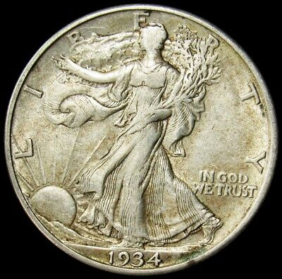 1934-D Walking Liberty Half Dollar -XF- Extremely Fine 50c Silver