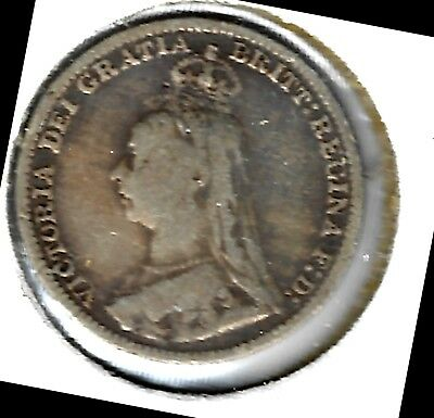 Great Britain - Three Pence, 1893 (Closed 3) -  Silver