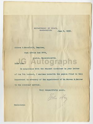 John Hay - U.S. Secretary of State - Authentic Autographed Letter from 1902