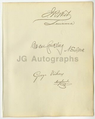 Roscoe Conkling, George Vickers, J.R. West Members of Senate & House Autographs