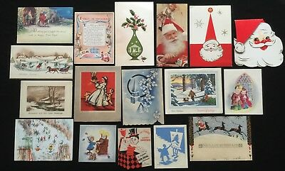Lot Of 17 Early Vintage Antique Used Christmas Greeting Cards
