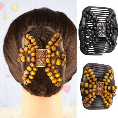 Women Wooden Beads Magic Hair Comb Slide Clip Lady Hairpin Style Headwear Newly