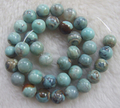 8mm 10mm 12mm Blue Natural Agates Round Loose Beads 15""