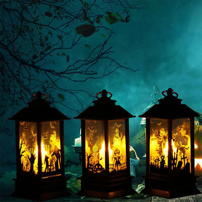 Top Halloween Vintage Pumpkin Castle Light Lamp Party Hanging Decor LED Lantern