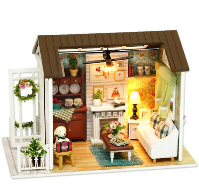 LED Wooden Dollhouse Miniature Furniture Kit Toy Doll House DIY Handcraft Gift