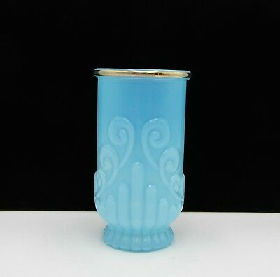 Vintage Avon Bristol Blue Glass & Gold Bathroom Toothbrush Holder