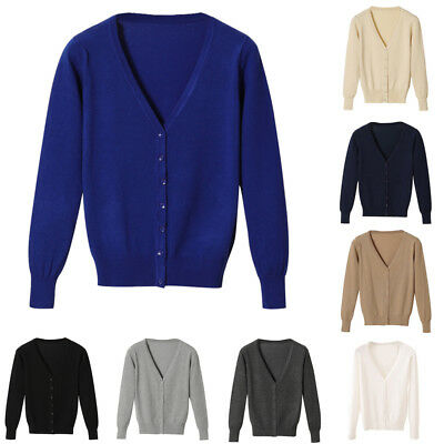 CO_ Women Short Button Down Long Sleeve V-Neck Soft Knit Sweater Cardigan Raptur