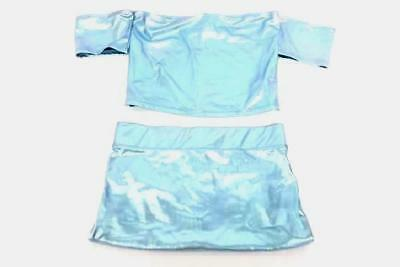 2 Piece Outfit Forever 21 Skirt & Top Metallic Light Blue Stretch Women's Large