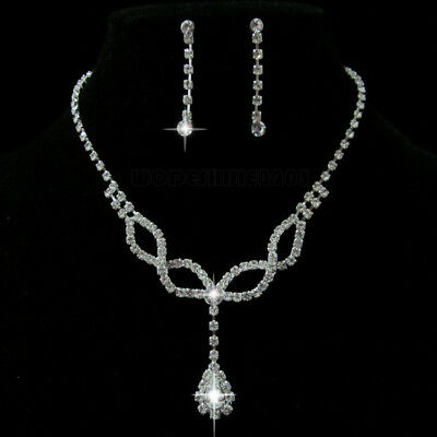 Wedding Party Crystal Necklace Earring Silver plated Drops of water Jewelry N180