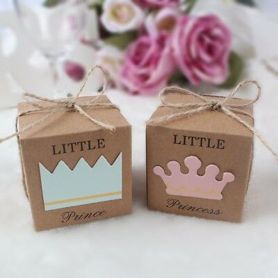 50×Little Prince Princess Crown Kraft Candy Gift Box Baby Shower Party Favor Box