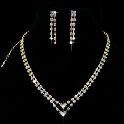Multi-storey Wedding Party Crystal Necklace Earring gold  plated Jewelry N187