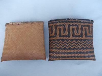 608 / Antique Rep Of Congo Kuba Kingdom Cane / Fibre Woven Pouch + Inner Pouch