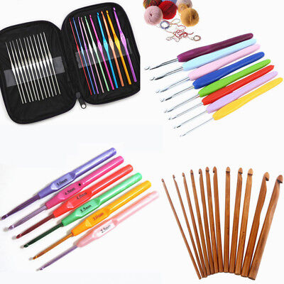 6/9/22Pcs Aluminum Handle Crochet Hook Knitting Knit Needle Weave Yarn Set Kits