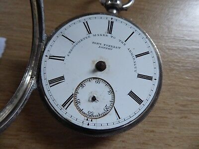 LONDON JOHN FOREST GENTS SILVER  ANTIQUE FUSEE  POCKET WATCH c1886