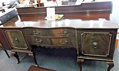 QUEEN ANNE Style Flame Mahogany Veneer Sideboard With Lion Handles - W39