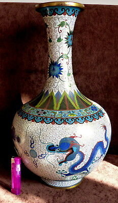 Antique Chinese cloisonné Large vase decorated dragons chasing flaming pearl