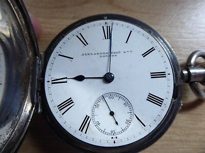 LONDON ALEXANDER BROS LTD GENTS SILVER  ANTIQUE  HUNTER  POCKET WATCH c1895