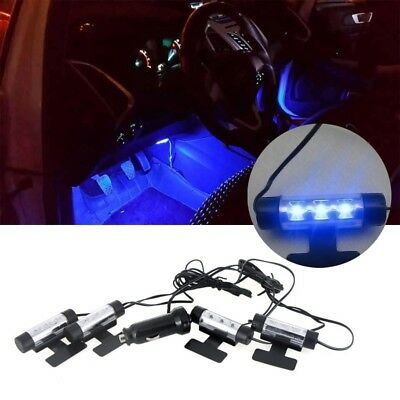 4x 3LED Car Charge Tools Floor Decorative Atmosphere Lamp Interior Light